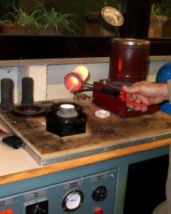 Pouring molten silver