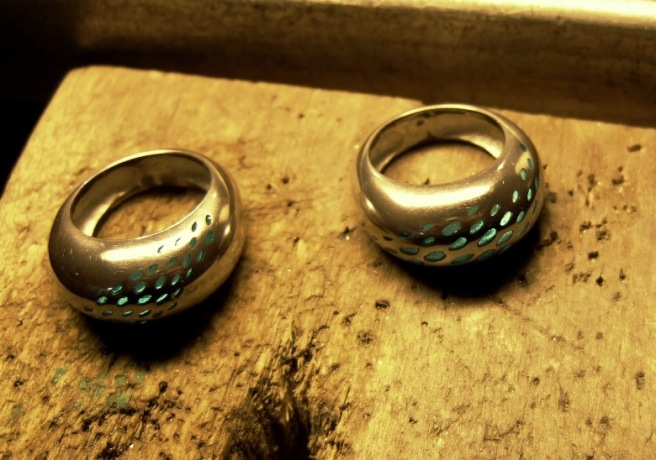 Two enamelled rings