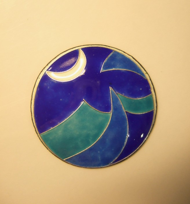 Cloisonne Fired wave piece