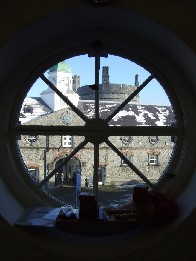 View of castle yard from studio